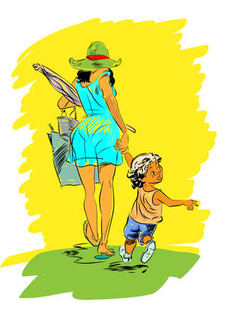mischief: mother and child on the beach. Childhood and motherhood. Interest and curiosity Illustration