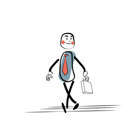 morning walk: Positive businessman goes to work. Character comic sketch style hand drawing. Business concept success
