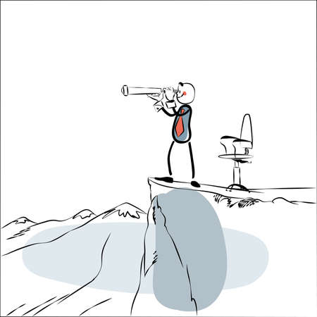Business leader looking far. Line art comic style. Businessman on top of a cliff. Looks through a telescope