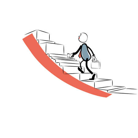 sales growth: Businessman goes up the career ladder. Schedule of sales growth. Business concept success Illustration