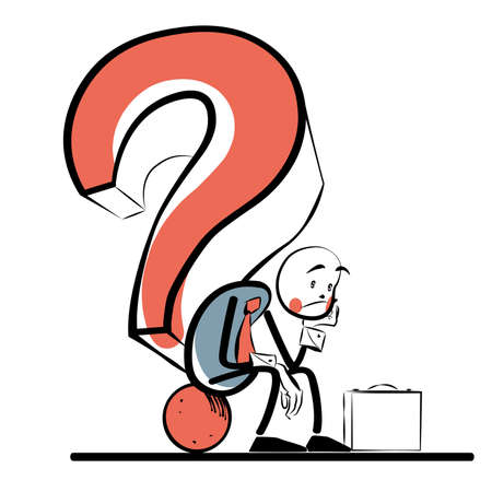 businessman thinking: Business question businessman thinking. The business concept. Comic sketch line art style. The people at work. Illustration