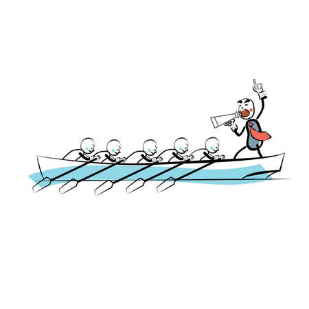 work boat: Leader teamwork business concept boat rowers. The business concept. Comic sketch line art style. The people at work. The sports competition. Water sports