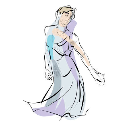 clubbers: Woman dancing. Beautiful girl. Woman music vector illustration. Hobbies and interests.