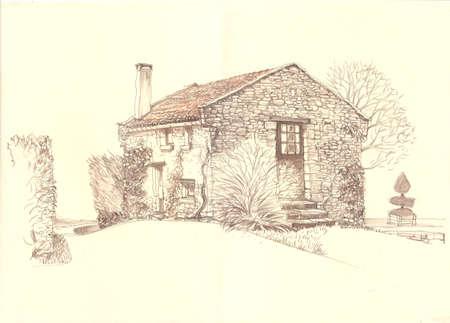 Paysage rural vieille maison. province européenne. France rurale. vieille maison Mignon