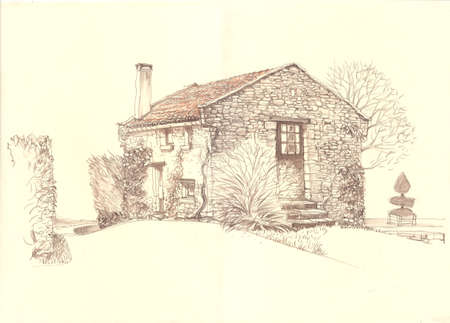 sketch drawing: Rural landscape old house. European province. Rural France. Cute old house