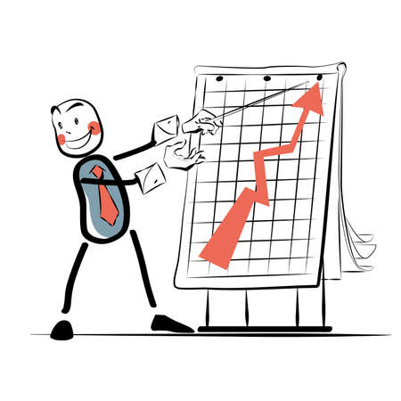sales book: The businessman beside chart sales color vector line art comic book style character. Business and businessmen. The business concept. Business vector