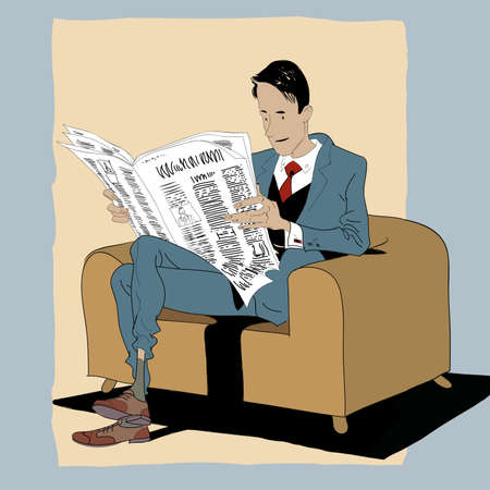 business news: Solid man reading a newspaper. News and press. Subscription to the publication. Business news business concept