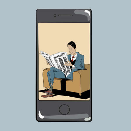 reading app: App for reading press man newspaper. Businessman reading a newspaper. In the event the phone screen
