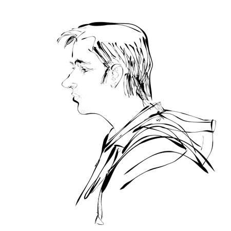 man profile: Abstract man portrait profile illustration. People modern profile