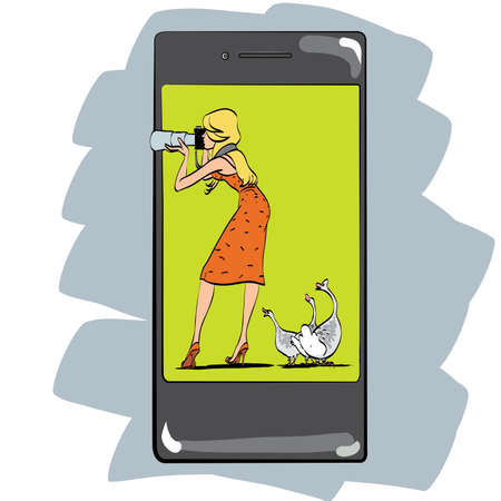 geese: Photo app for smartphone girl photographs appliances and gadgets. The woman with the camera and geese. Photographing nature
