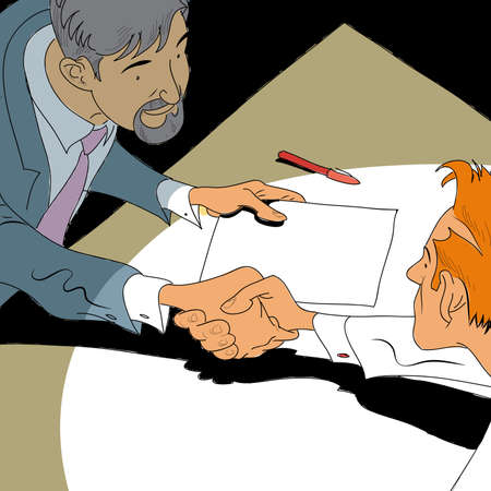 entered: Handshake business deal. The businessmen entered into a contract. Business vector illustration.