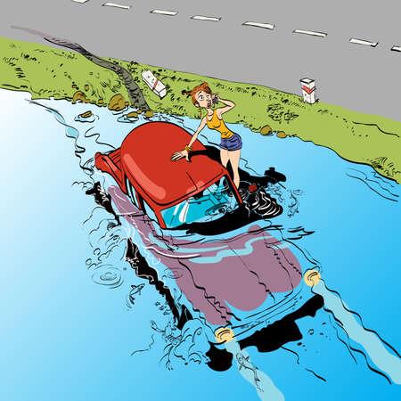 Autounfall Mädchen Fahrer. Transport und Maschinen. Die Regeln der Straße. Das Auto sank unter Wasser Vektorgrafik