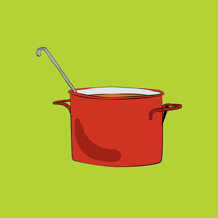 broth: Pot with ladle illustration. The red pot. utensils in the kitchen. Soup and cooking