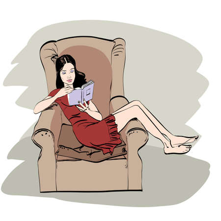 hobie: girl at home reading a book. A woman lying in a chair. Rest and Hobie. Literature reading books Illustration