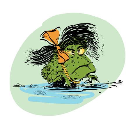 amphibian: amphibian frog girl. Evolution and biology. line art illustration. Comic style character