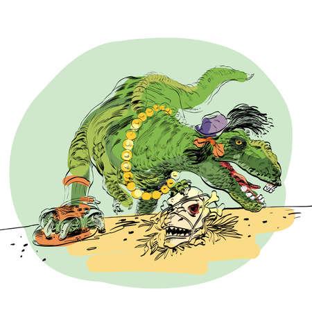 darwinism: dinosaur t Rex female. Tyrannosaurus Evolution and biology. line art illustration. Comic style character Illustration