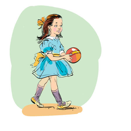 preppy: Sweet girl with ball. Evolution and biology. line art illustration. Comic style character