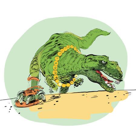 darwinism: The evolution of men Tyrannosaurus dinosaur line art comic Stock Photo
