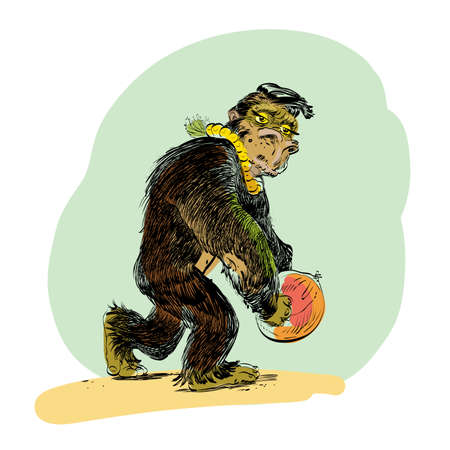primate biology: The evolution of men monkey line art comic