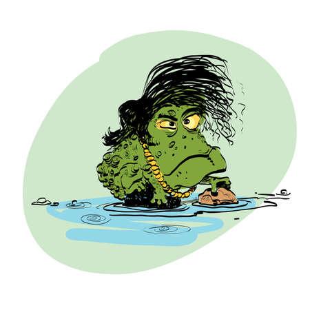 darwinism: The evolution of men amphibian line art comic hand drawn Illustration
