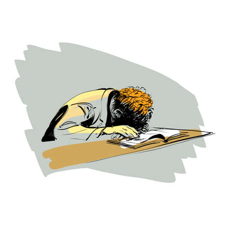 diligence: boy asleep on a textbook education school line art comic. Reading books. colored drawing