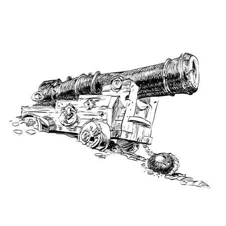 cannon gun: Cannon pirate vector graphics. Black and white illustration of old pirate gun