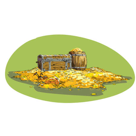 booty: Pirate treasure chest with gold. The chest and barrel on the mountain of gold coins. Pirate booty
