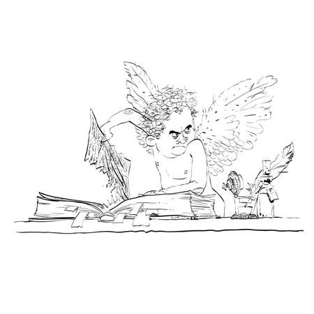prankster: Angel bureaucrat pulls out a page from the book. Black and white vector cartoon. Bureaucracy and paperwork
