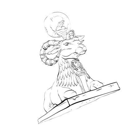 hoofed: Golden sheep statue animal fairy. Black and white illustration. Fairy tale and adventure. Sheep with horns and a cobra