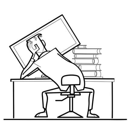 mess: man computer monitor back. Workplace. Books and computer. A creative mess. Black and white illustration vector Illustration