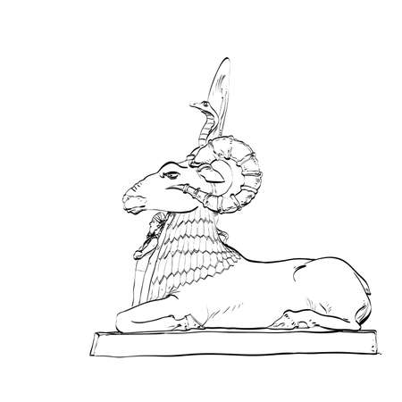 fable: Golden sheep statue animal fairy. Black and white illustration. Fairy tale and adventure. Sheep with horns and a cobra