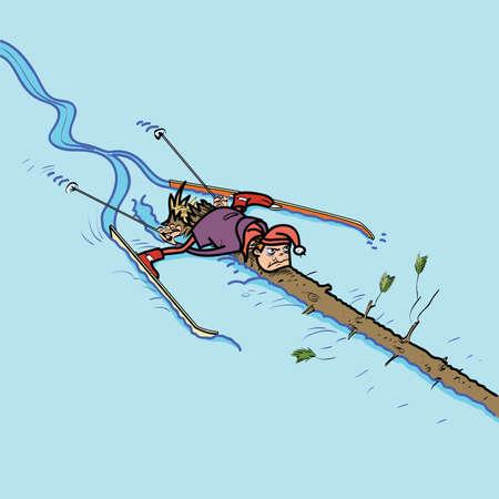crashed: A skier crashed into a tree. Wintersports. Ski descent