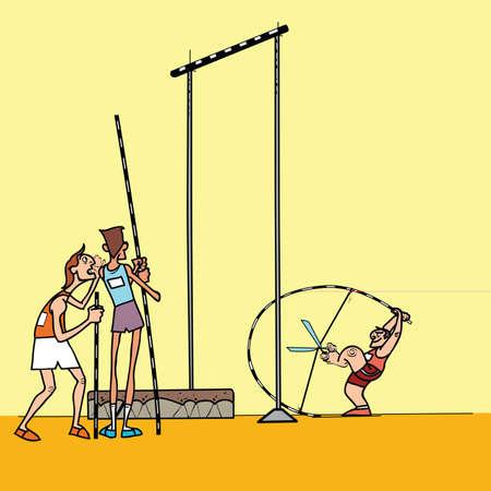humor jump: High jump athletes athletics. summer sports games. Humor in sports. Pole vault