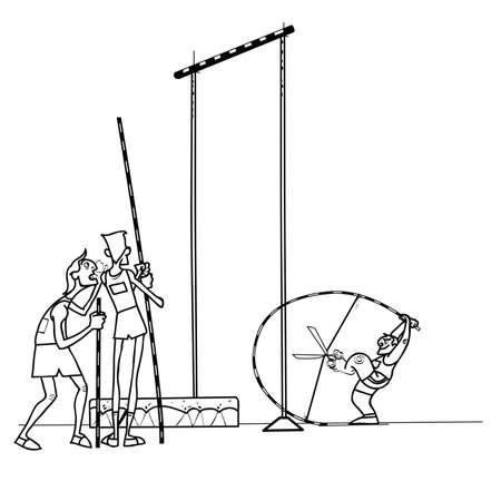 Salto de altura atletas atletismo. juegos de deportes de verano. El humor en los deportes. Salto con pértiga. dibujo en blanco y negro para colorear