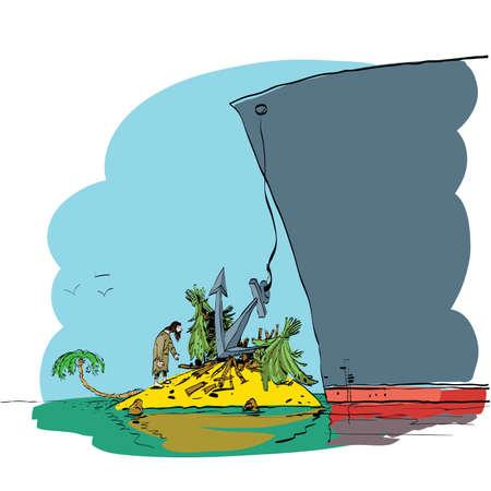 Turismo e la vita aborigena. ancoraggio rivestimento delle abitazioni distrutte Robinson