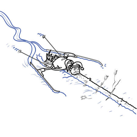 wintersports: A skier crashed into a tree. Wintersports. Ski descent. Black and white drawing for coloring Illustration