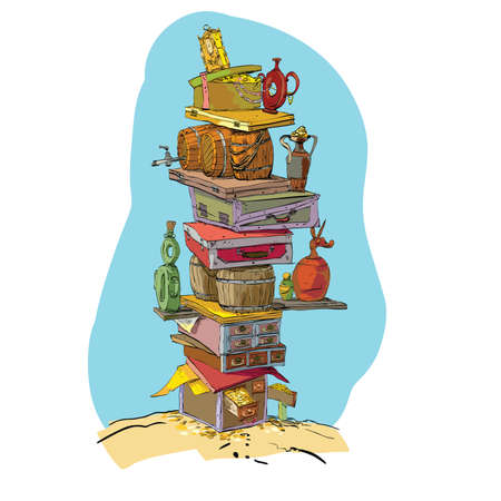 海賊の宝を金と宝箱。色ベクトル イラスト。すばらしい富