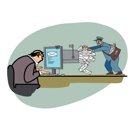 spammer: Email business postman and letters. Electronic spam. Computer mail. Old post office Illustration