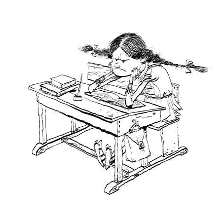 Angry girl in school line art. Schoolgirl on the lesson. The kids at school. Education. Black and white illustration for coloring