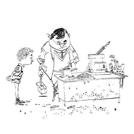 machining: The boy student in class work line art. The work on the machine. Joinery. Black and white illustration for painting