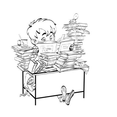 classics: Literature, student boy reads books line art. The school and education. Literature and books. Black and white illustration for painting Illustration