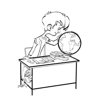 geography: Geography, Student boy looking globe line art. The school and education. Science geography. black and white illustration for coloring Illustration