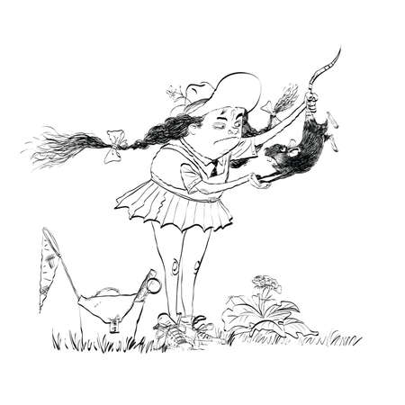 Girl naturalist studying the rat line art. Biology and education. Zoology science. Black and white illustration for painting