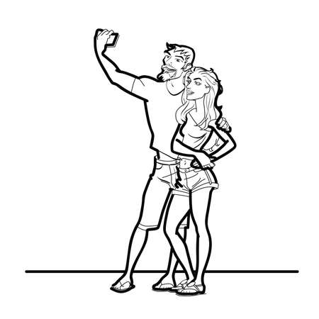 boyfriend: Couple man and woman selfie phone line art. The girl and her boyfriend are photographed on a smartphone. black and white line art Illustration