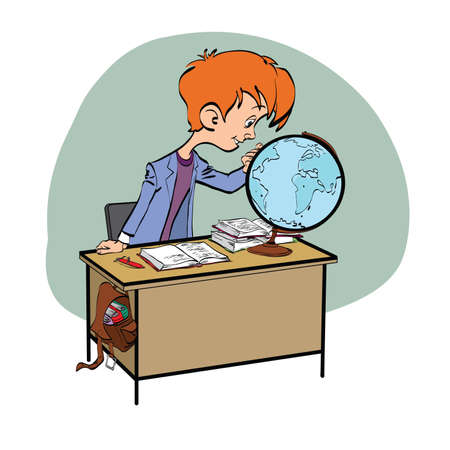 geography: Geography, Student boy looking globe line art. The school and education. Science geography