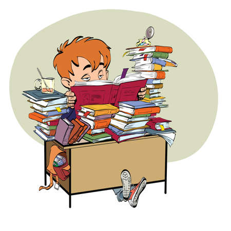 child studying: Literature, student boy reads books line art. The school and education. Literature and books