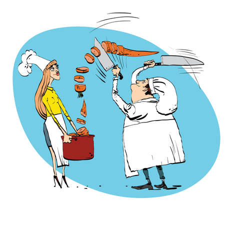 vegetarianism: Chef cuts vegetables cooks food line art. Professional in the kitchen cut the carrots in a saucepan. The girl assistant cook Illustration