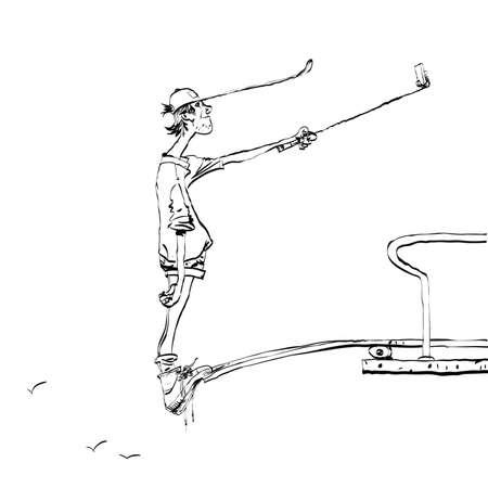 diving platform: Funny selfie guy on the diving platform line art. New technologies and smartphone. Selfie stick. Black and white illustration for coloring