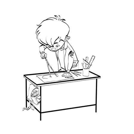 neatness: Schoolboy boy drawing lesson designer engineer line art. Black and white illustration to paint