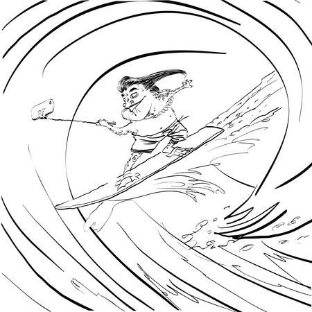 amphibia: Surfer frog selfie wave line art. Water sports. Frog extreme. Black and white illustration to paint